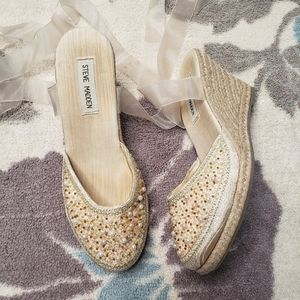 Steve Madden Beaded Wedges with Ribbon Ankle Ties